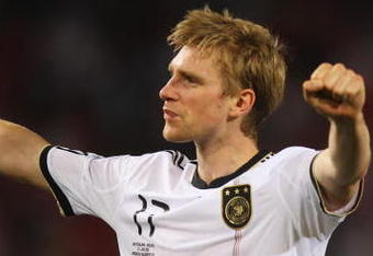 BLOEMFONTEIN, SOUTH AFRICA - JUNE 27:  Per Mertesacker of Germany celebrates victory following the 2010 FIFA World Cup South Africa Round of Sixteen match between Germany and England at Free State Stadium on June 27, 2010 in Bloemfontein, South Africa.  (