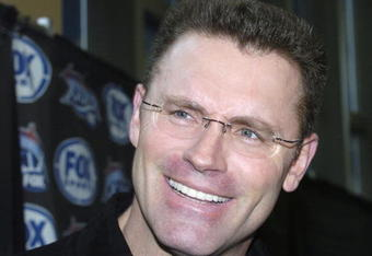 Howie Long speaks with the media during media day at Alltel Stadium in Jacksonville, Florida on February 1, 2005.  (Photo by Al Messerschmidt/Getty Images)