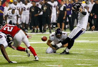 ATLANTA, GA - SEPTEMBER 01:   Billy Cundiff #7 of the Baltimore Ravens kicks a field goal against the Atlanta Falcons at Georgia Dome on September 1, 2011 in Atlanta, Georgia.  (Photo by Kevin C. Cox/Getty Images)
