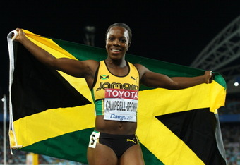 DAEGU, SOUTH KOREA - SEPTEMBER 02:  Veronica Campbell-Brown of Jamaica celebrates winning the women's 200 metres final during day seven of 13th IAAF World Athletics Championships at Daegu Stadium on September 2, 2011 in Daegu, South Korea.  (Photo by Mark