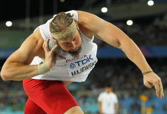 DAEGU, SOUTH KOREA - SEPTEMBER 02:  Tomasz Majewski of Poland competes in the men's shot put final during day seven of 13th IAAF World Athletics Championships at Daegu Stadium on September 2, 2011 in Daegu, South Korea.  (Photo by Andy Lyons/Getty Images)