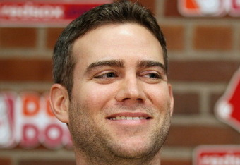 BOSTON, MA - DECEMBER 11:  Theo Epstein, general manager of the Boston Red Sox, answers questions about Carl Crawford during a press conference on December 11,  2010 at the Fenway Park in Boston, Massachusetts.  (Photo by Elsa/Getty Images)