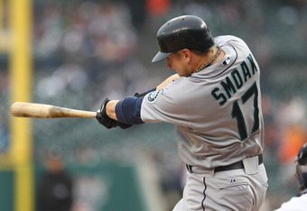 DETROIT, MI - JUNE 10:  First Baseman Justin Smoak #17 of the Seattle Mariners hits a solo home run in the first inning during a MLB game against the Detroit Tigers at Comerica Park on June 10, 2011 in Detroit, Michigan.  Seattle defeated Detroit 3-2.  (P