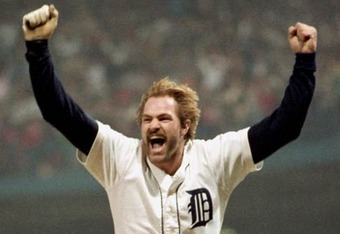 Gibson, celebrating his blast off Gossage in the 1984 World Series
