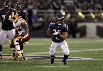 BALTIMORE, MD - AUGUST 25:  Running back Ray Rice #27 of the Baltimore Ravens carries the ball against the Washington Redskins during the second half of a preseason game at M&T Bank Stadium on August 25, 2011 in Baltimore, Maryland. The Ravens defeated th