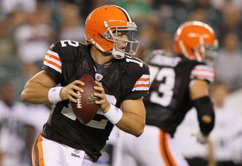 PHILADELPHIA, PA - AUGUST 25:  Colt McCoy #12 of the Cleveland Browns in action against the Philadelphia Eagles during their pre season game on August 25, 2011 at Lincoln Financial Field in Philadelphia, Pennsylvania.  (Photo by Jim McIsaac/Getty Images)