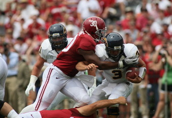 Dont'a Hightower and the Alabama defense held hapless Kent State to -9 rushing yards.