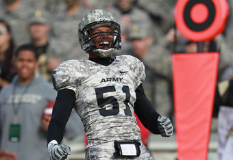 So. Reggie Nesbit made his first  start at middle linebacker  (Courtesy USMA)