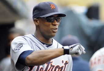 MINNEAPOLIS, MN - AUGUST 27:   Austin Jackson #14 center fielder for the Detroit Tigers gets ready for their game against the Minnesota Twins  on August 27, 2011 at Target Field in Minneapolis, Minnesota. Detroit wins 6-4. Detroit wins 6-4. (Photo by Crai