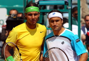 MONACO - APRIL 17:  Rafael Nadal of Spain and  David Ferrer of Spain before the final during Day Eight of the ATP Masters Series Tennis at the Monte Carlo Country Club on April 17, 2011 in Monte Carlo, Monaco.  (Photo by Julian Finney/Getty Images)