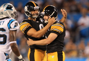 CHARLOTTE, NC - SEPTEMBER 01:  Swayze Waters #5 of the Pittsburgh Steelers celebrates with teammate Daniel Sepulveda after a field goal against the Carolina Panthers during their preseason game at Bank of America Stadium on September 1, 2011 in Charlotte,