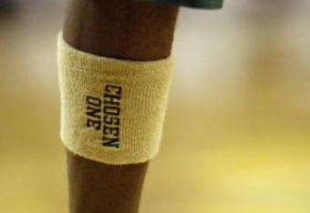 CLEVELAND - DECEMBER 12:  LeBron James #23 of St. Vincent-St. Mary High School wears a sweatband on his leg that reads, 'Chosen One' during the game against Oak Hill Academy at the Cleveland State University Convocation Center on December 12, 2002 in Clev