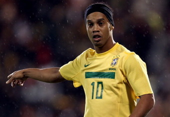 LONDON, ENGLAND - SEPTEMBER 05:  Ronaldinho of Brazil looks on during the International friendly match between Brazil and Ghana at Craven Cottage on September 5, 2011 in London, England.  (Photo by Clive Rose/Getty Images)