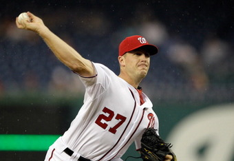 WASHINGTON, DC - AUGUST 18:  Starting pitcher Jordan Zimmermann #27 of the Washington Nationals throws to a Cincinnati Reds batter during the second inning at Nationals Park on August 18, 2011 in Washington, DC.  (Photo by Rob Carr/Getty Images)