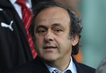 HERNING, DENMARK - JUNE 22:  UEFA President Michel Platini looks on during the UEFA European Under-21 Championship Semi Final match between Switzerland and Czech Republic at the Herning Stadium on June 22, 2011 in Herning, Denmark.  (Photo by Ian Walton/G