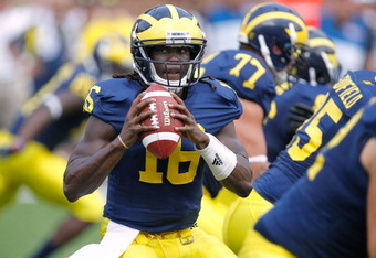ANN ARBOR, MI - SEPTEMBER 03:  Denard Robinson #16 of the Michigan Wolverines gets ready to throw a second quarter pass while playing the Western Michigan Broncos at Michigan Stadium on September 3, 2010 in Ann Arbor, Michigan. (Photo by Gregory Shamus/Ge