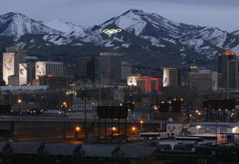 SALT LAKE CITY - FEBRUARY 23:  A general view of downtown Salt Lake City at dusk during the Salt Lake Winter Olympics on February 23, 2002 in Salt Lake City, Utah. (Photo by Brian Bahr)