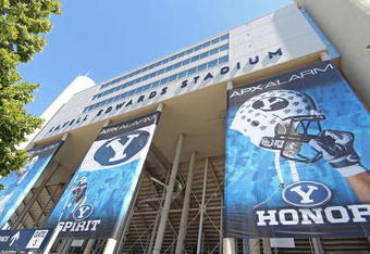 PROVO, UT - SEPTEMBER 1:  Large signs hang outside Lavell Edwards Stadium where it was announced that BYU football will become independent in 2011 separating from the Mountain West Conference, September 1, 2010 in Provo, Utah. The remaining BYU sports wil