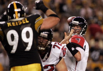 PITTSBURGH, PA - AUGUST 27:  Matt Ryan #2 of the Atlanta Falcons attempts a pass past Brett Keisel #99 of the Pittsburgh Steelers during a pre-season game on August 27, 2011 at Heinz Field in Pittsburgh, Pennsylvania.  (Photo by Justin K. Aller/Getty Imag