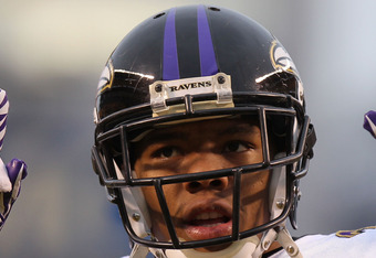 PITTSBURGH, PA - JANUARY 15:  Running back Ray Rice #27 of the Baltimore Ravens stands on the field during warm ups prior to playing the Pittsburgh Steelers in the AFC Divisional Playoff Game at Heinz Field on January 15, 2011 in Pittsburgh, Pennsylvania.