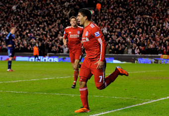 Luis Suarez Scores in his debut against Stoke City