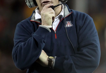 TUCSON, AZ - DECEMBER 02:  Head coach Mike Stoops of the Arizona Wildcats during the college football game against the Arizona State Sun Devils at Arizona Stadium on December 2, 2010 in Tucson, Arizona. The Sun Devils defeated the Wildcats 30-29 in double