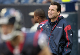 HOUSTON, TX - JANUARY 02:  Head coach Gary Kubiak of the Houston Texans looks on during warm ups before playing the Jacksonville Jaguars at Reliant Stadium on January 2, 2011 in Houston, Texas.  (Photo by Bob Levey/Getty Images)