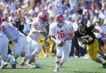 12 Sep 1998: Todd Bandhuaer #16 of the Iowa State Cyclones grips the ball as he looks to hand off during the game against the Iowa Hawkeyes at Kinnick Stadium in Iowa City, Iowa. Iowa defeated Iowa State 27-9. Mandatory Credit: Aubrey Washington  /Allspor