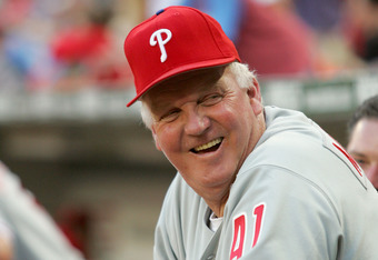 WASHINGTON - SEPTEMBER 2:  Manager Charlie Manuel #41 of the Philadelphia Phillies watches the game against the Washington Nationals on September 2, 2005 at RFK Stadium in Washington, DC.  The Pillies won 7-1.   (Photo by Jamie Squire/Getty Images)