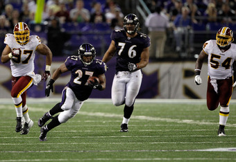 BALTIMORE, MD - AUGUST 25: Running back Ray Rice #27 of the Baltimore Ravens carries the ball against the Washington Redskins during the second half of a preseason game at M&T Bank Stadium on August 25, 2011 in Baltimore, Maryland. The Ravens defeated the