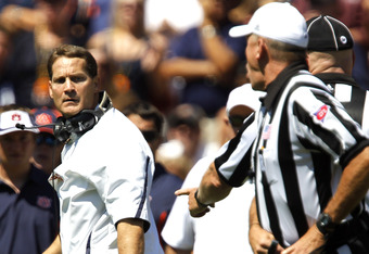 AUBURN, AL - SEPTEMBER 10:  Coach Gene Chizik of the Auburn Tigers reacts after a flag was thrown for celebration in the first quarter on September 10, 2011 at Jordan-Hare Stadium in Auburn, Alabama. (Photo by Butch Dill/Getty Images)