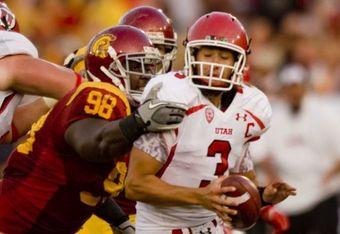 USC DT DaJohn Harris sacks Utah QB Jordan Wynn