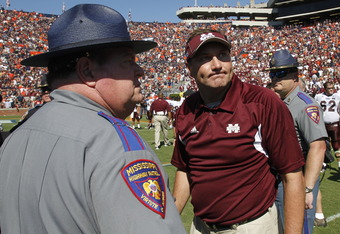 Mississippi State Head Coach, Dan Mullen, exits field frustrated after loss to Auburn