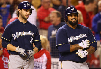 ST. LOUIS, MO -SEPTEMBER 7: Ryan Braun #8 and Prince Fielder #28 of the Milwaukee Brewers wait on deck against the St. Louis Cardinals at Busch Stadium on September 7, 2011 in St. Louis, Missouri.  The Cardinals beat the Brewers 2-0.  (Photo by Dilip Vish