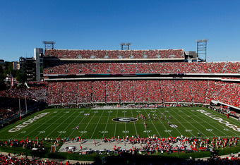 ATHENS, GA - SEPTEMBER 10:  A general view of Sanford Stadium during the game between the Georgia Bulldogs and the South Carolina Gamecocks on September 10, 2011 in Athens, Georgia.  (Photo by Kevin C. Cox/Getty Images)