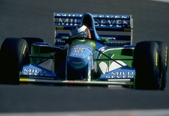 17 Apr 1994:  Michael Schumacher of Germany in action in his Benetton Ford during the Pacific Grand Prix at the TI circuit in Aida, Japan. Schumacher finished in first place. \ Mandatory Credit: Pascal  Rondeau/Allsport
