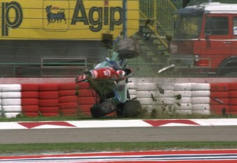1 May 1994:  Rubens Barrichello of Brazil crashes at 160 mph in his Jordan Hart during the first official practice for the San Marino Grand Prix at the Imola circuit in San Marino. Barrichello escaped serious injury. \ Mandatory Credit: Anton  Want/Allspo