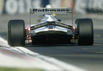 1 May 1994:  Rear view of Ayrton Senna of Brazil in action in his Williams Renault during the San Marino Grand Prix at the Imola circuit in San Marino. Senna later suffered a fatal accident when the steering column apparently sheared leaving the Brazilian