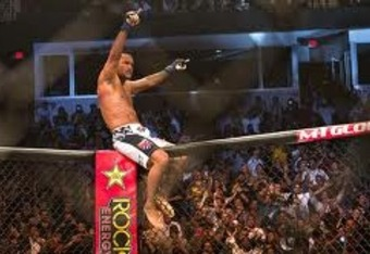 Dan Henderson celebrating a victory over Fedor Emelianenko