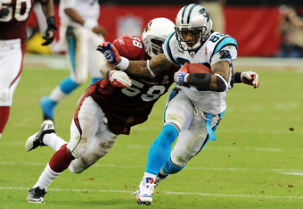Steve Smith runs free after one of his eight catches against the Arizona Cardinals