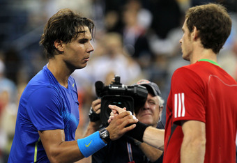 NEW YORK, NY - SEPTEMBER 10:  (L-R) Rafael Nadal of Spain is congratulated by Andy Murray of Great Britain after Nadal won their match during Day Thirteen of the 2011 US Open at the USTA Billie Jean King National Tennis Center on September 10, 2011 in the