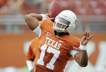 AUSTIN, TX - SEPTEMBER 5:  Quarterback Sherrod Harris #17 of the Texas Longhorns warms-up prior to their game against the Louisiana Monroe Warhawks on September 5, 2009 at Darrell K Royal-Texas Memorial Stadium in Austin, Texas. The Longhorns defeated the