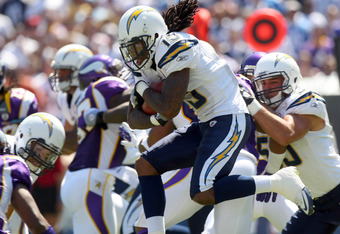 SAN DIEGO, CA - SEPTEMBER 11:   Richard Goodman #15 of the San Diego Chargers returns the ball against the Minnesota Vikings during their NFL Game on September 11, 2011 at Qualcomm Stadium in San DIego, California. (Photo by Donald Miralle/Getty Images)