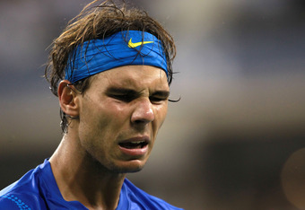 NEW YORK, NY - SEPTEMBER 12:  Rafael Nadal of Spain reacts against Novak Djokovic of Serbia during the Men's Final on Day Fifteen of the 2011 US Open at the USTA Billie Jean King National Tennis Center on September 12, 2011 in the Flushing neighborhood of