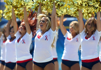 SAN DIEGO, CA - SEPTEMBER 11:   The San Diego Chargers-Girls cheer against the Minnesota Vikings during their NFL Game on September 11, 2011 at Qualcomm Stadium in San DIego, California. (Photo by Donald Miralle/Getty Images)