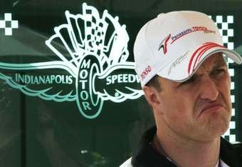 INDIANAPOLIS - JUNE 18:  Ralf Schumacher of Germany and Toyota looks dejected after he decides not to race this weekend after crashing June 17 during the practice session prior to qualifying for the United States F1 Grand Prix on June 18, 2005 at the Indi