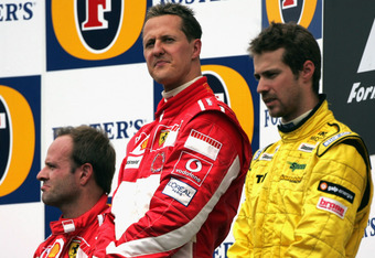 INDIANAPOLIS, IN - JUNE 19: Michael Schumacher of Germany and Ferrari looks down beat on the podium after winning the United States F1 Grand Prix at the Indianapolis Motor Speedway on June 19, 2005 in Indianapolis, Indiana. Only six drivers eventually com