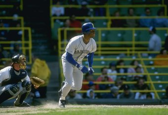 1989:  Ken Griffey Jr. of the Seattle Mariners runs to first after hitting the ball during a game. Mandatory Credit: Jonathan Daniel  /Allsport