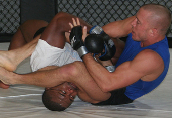 Back in the day: Former teammates Rashad Evans and Georges St. Pierre training at Jacksons, 2009