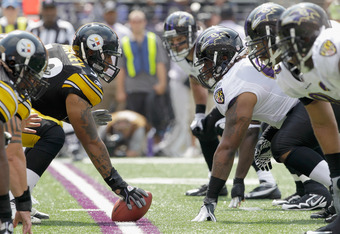 BALTIMORE, MD - SEPTEMBER 11: The Pittsburgh Steelers offense lines up against the Baltimore Ravens during the first half of the season opener at M&T Bank Stadium on September 11, 2011 in Baltimore, Maryland.  (Photo by Rob Carr/Getty Images)